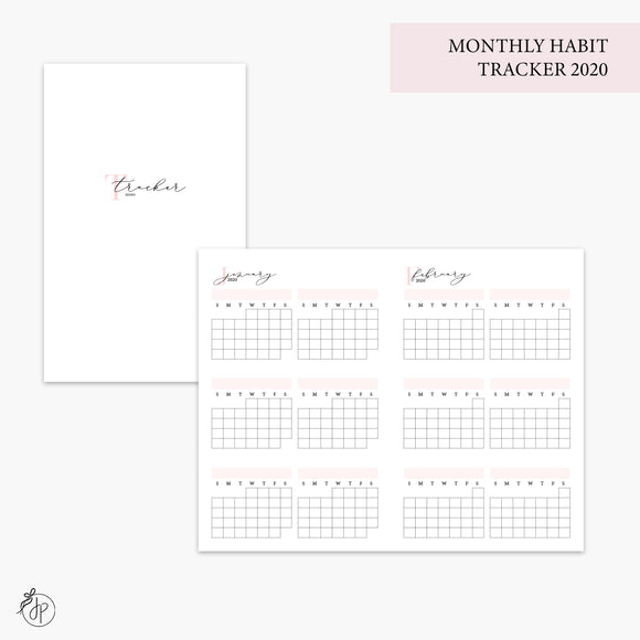 Monthly Habit Tracker 2020 Pink - Pocket TN