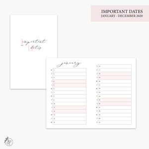 Important Dates 2020 Pink - Pocket TN