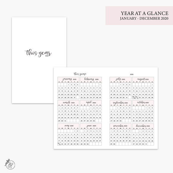 Year at a Glance 2020 Pink - Pocket TN
