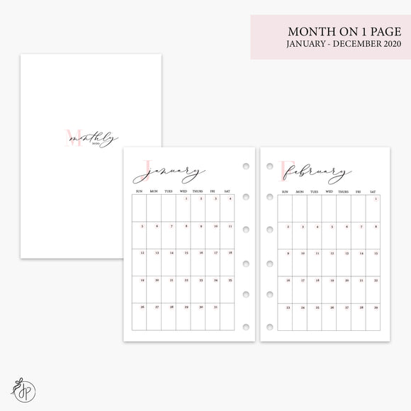 Month on 1 Page 2020 Pink - Pocket Rings