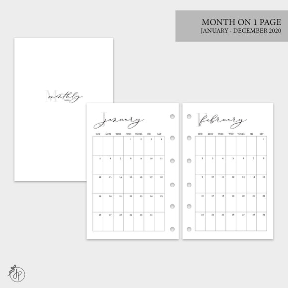 Month on 1 Page 2020 - Pocket Rings