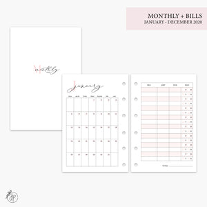 Monthly + Bills 2020 Pink - Pocket Rings
