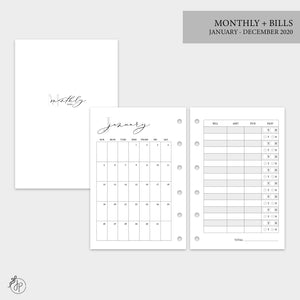 Monthly + Bills 2020 - Pocket Rings