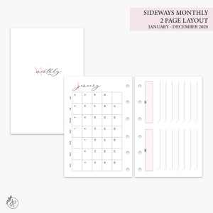 Sideways Monthly 2 PG Layout 2020 Pink - Pocket Rings