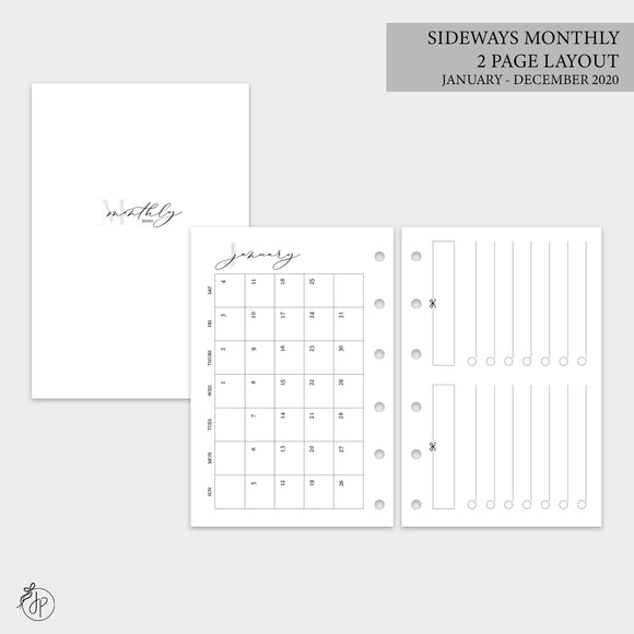 Sideways Monthly 2 PG Layout 2020 - Pocket Rings