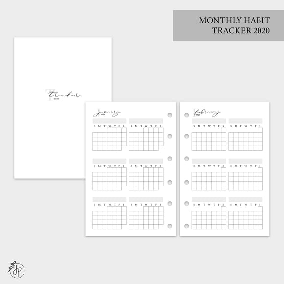 Monthly Habit Tracker 2020 - Pocket Rings