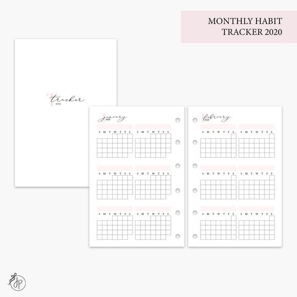 Monthly Habit Tracker 2020 Pink - Pocket Rings