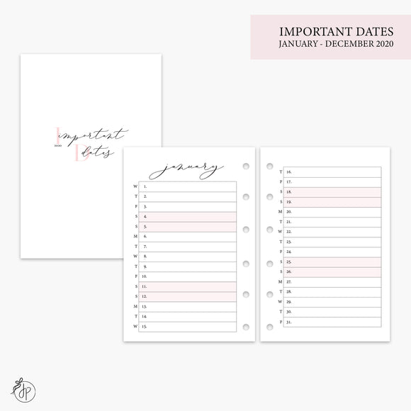 Important Dates 2020 Pink - Pocket Rings