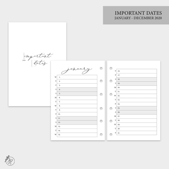 Important Dates 2020 - Pocket Rings