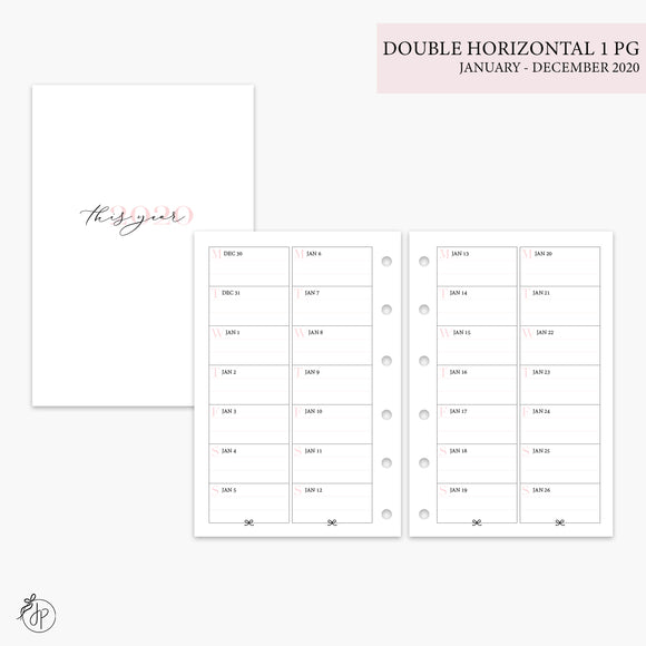 Double Horizontal on 1 Page 2020 Pink - Pocket Rings