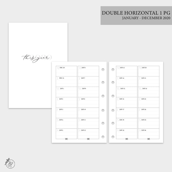 Double Horizontal on 1 Page 2020 - Pocket Rings