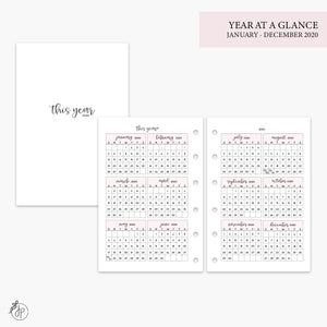 Year at a Glance 2020 Pink - Pocket Rings