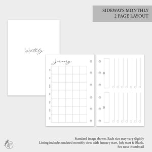 Sideways Monthly 2 PG Layout - Pocket Rings