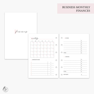 Business Monthly Finances Pink - Pocket Rings