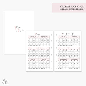 Year at a Glance 2021 Pink - Pocket Rings