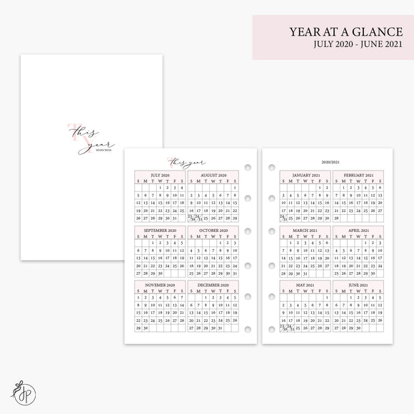 Year at a Glance 20/21 Pink - Pocket Rings