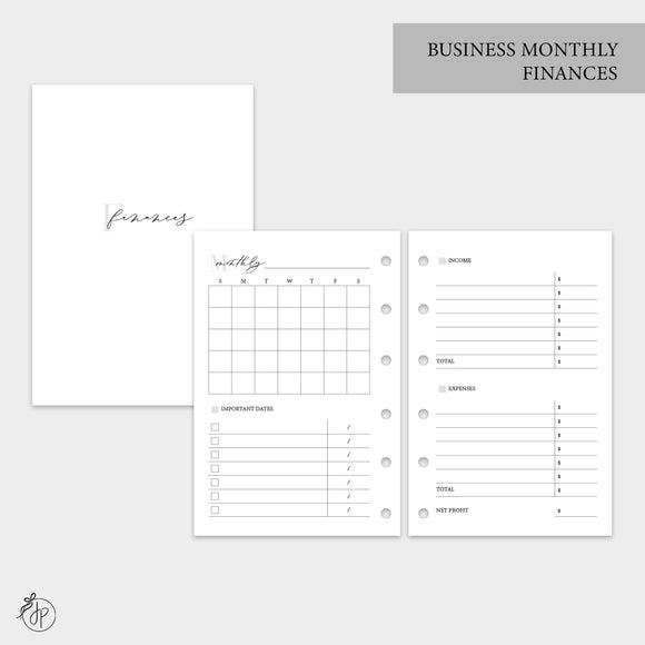 Business Monthly Finances - Pocket Rings