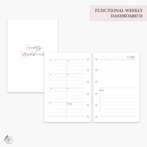 Functional Weekly Dashboard II Pink - Pocket Rings