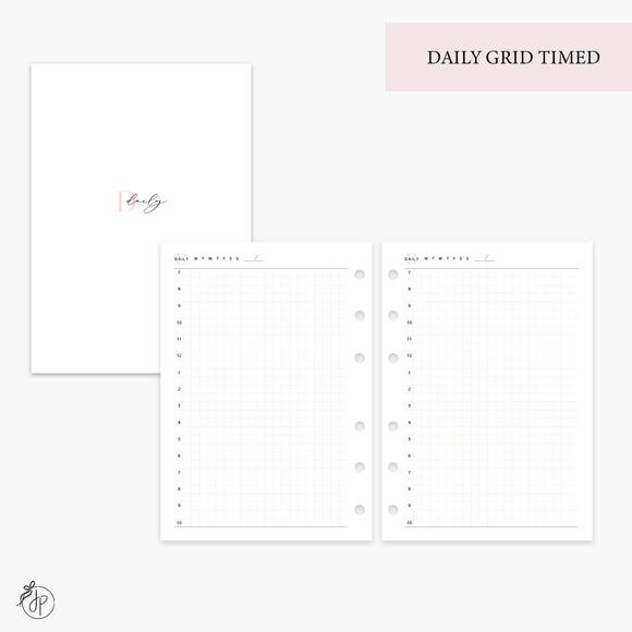Daily Grid Timed Pink - Personal Wide Rings