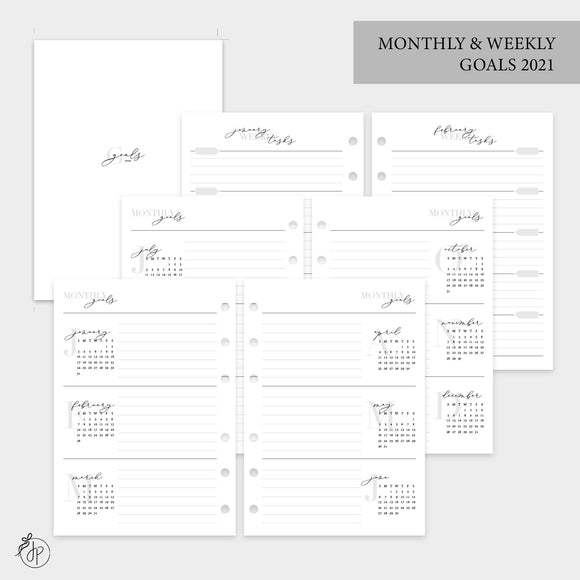 Monthly & Weekly Goals 2021 - Personal Wide Rings