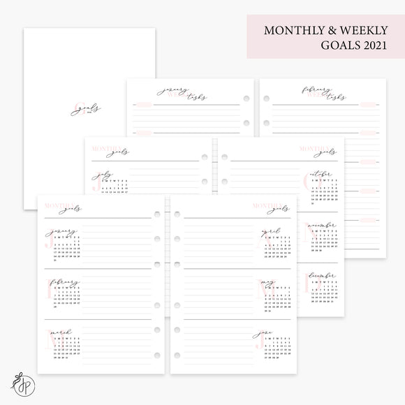 Monthly & Weekly Goals 2021 Pink - Personal Wide Rings