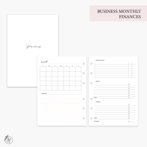 Business Monthly Finances Pink - Personal Wide Rings