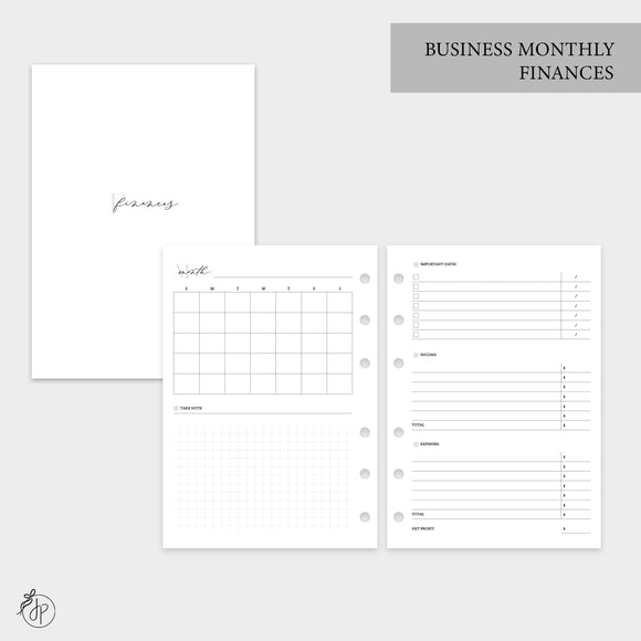 Business Monthly Finances - Personal Wide Rings