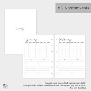Mini Monthly + Lists - Personal Wide Rings