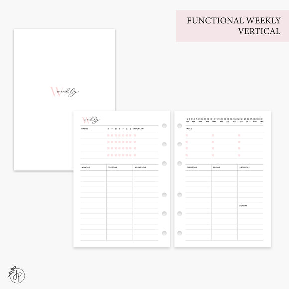 Functional Weekly Vertical Pink - Personal Wide Rings