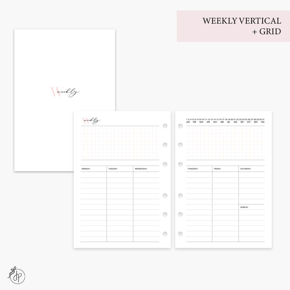 Weekly Vertical + Grid Pink - Personal Wide Rings