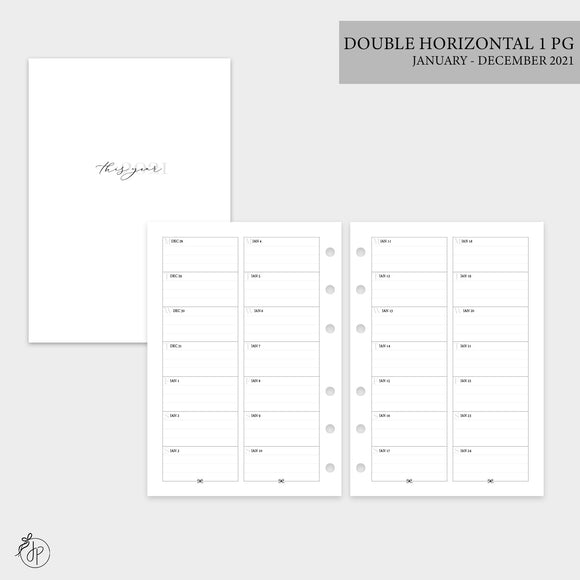 Double Horizontal on 1 Page 2021 - Personal Wide Rings