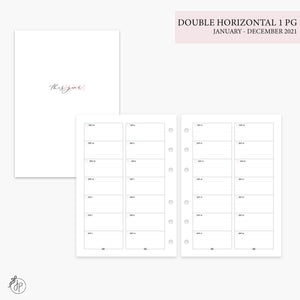 Double Horizontal on 1 Page 2021 Pink - Personal Wide Rings