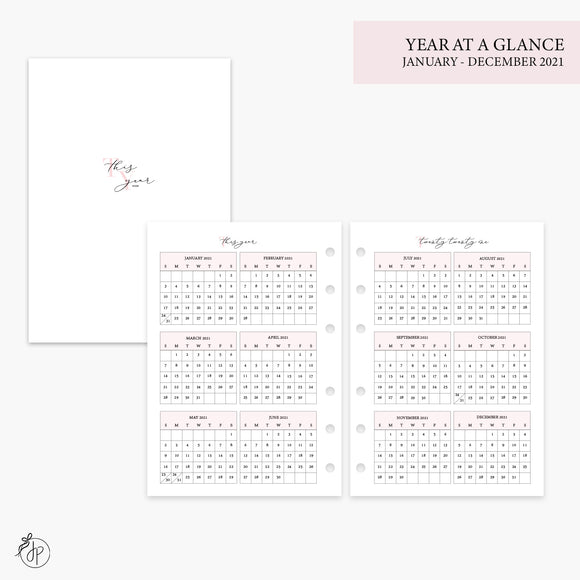 Year at a Glance 2021 Pink - Personal Wide Rings