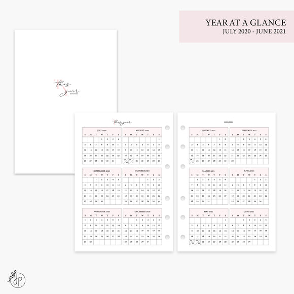 Year at a Glance 20/21 Pink - Personal Wide Rings