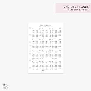 Year at a Glance 1 PG 20/21 Pink - Personal Wide Rings