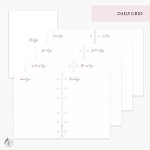 Daily Grid Pink - Personal Wide Rings