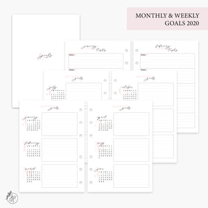 Monthly & Weekly Goals 2020 Pink - Personal Wide Rings