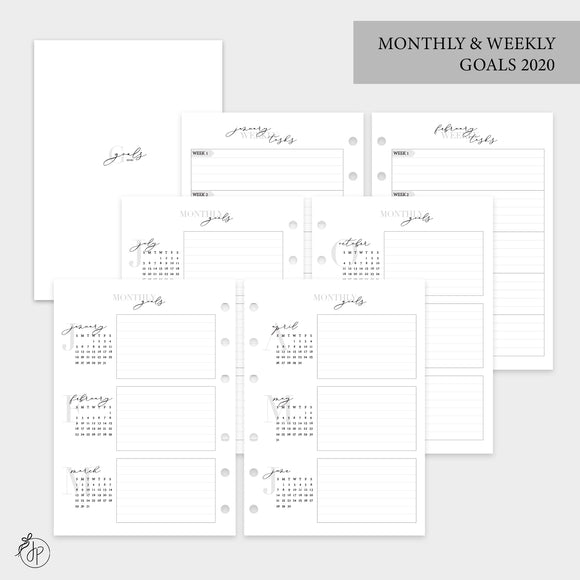 Monthly & Weekly Goals 2020 - Personal Wide Rings
