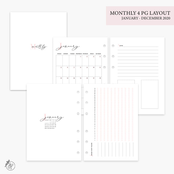 Monthly 4 Page Layout 2020 Pink - Personal Wide Rings