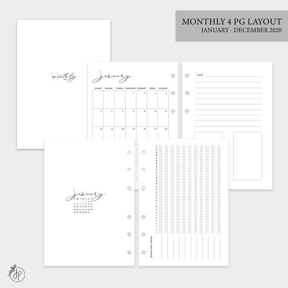 Monthly 4 Page Layout 2020 - Personal Wide Rings