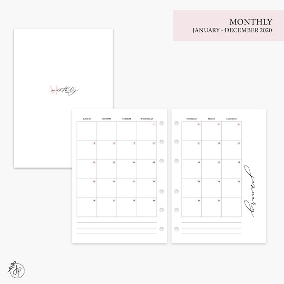 Monthly 2020 Pink - Personal Wide Rings