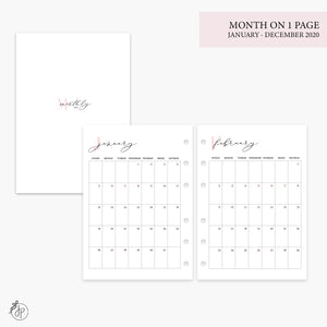 Month on 1 Page 2020 Pink - Personal Wide Rings