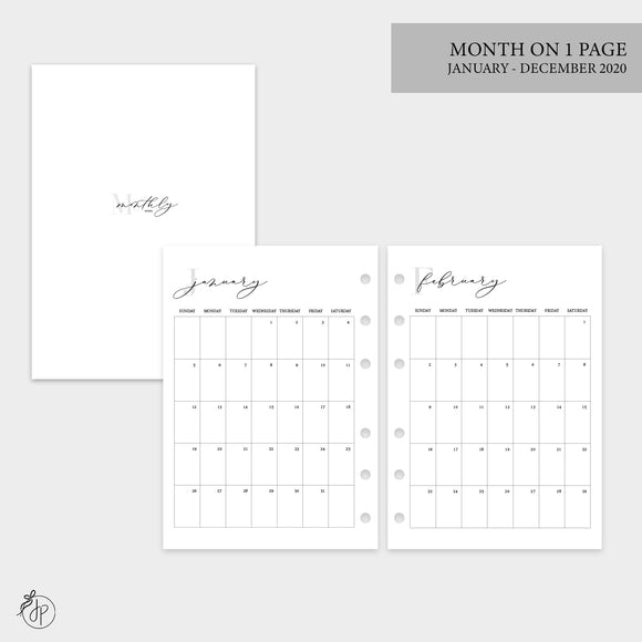 Month on 1 Page 2020 - Personal Wide Rings