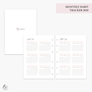 Monthly Habit Tracker 2020 Pink - Personal Wide Rings