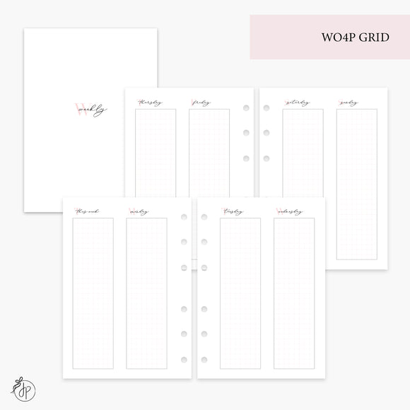 WO4P Grid Pink - Personal Wide Rings