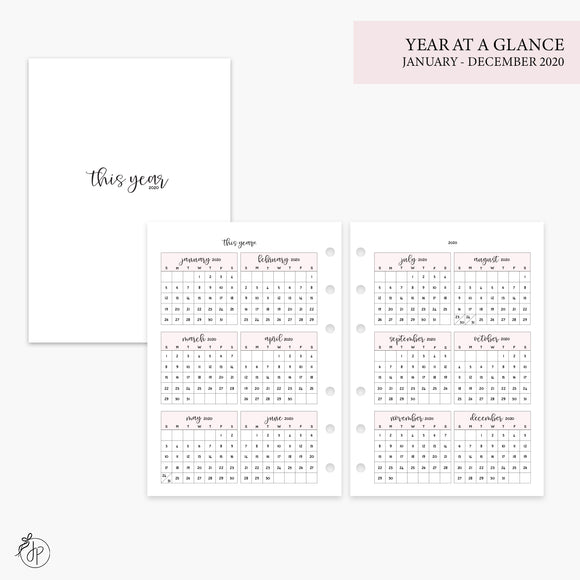 Year at a Glance 2020 Pink - Personal Wide Rings