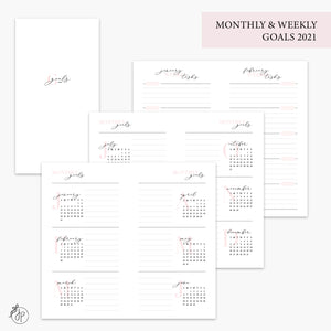 Monthly & Weekly Goals 2021 Pink - Personal TN