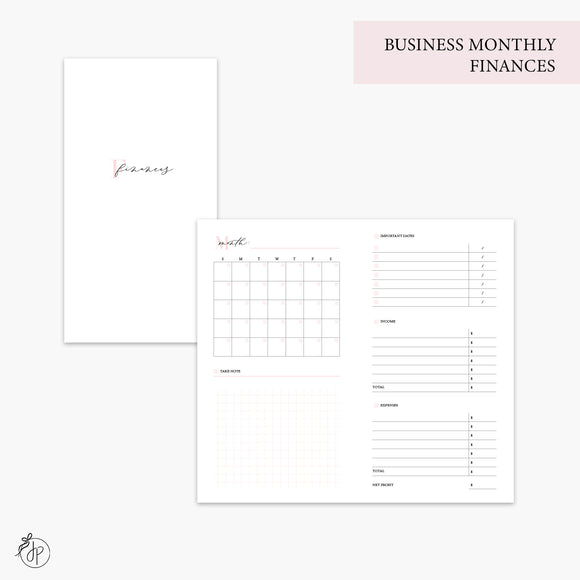 Business Monthly Finances Pink - Personal TN