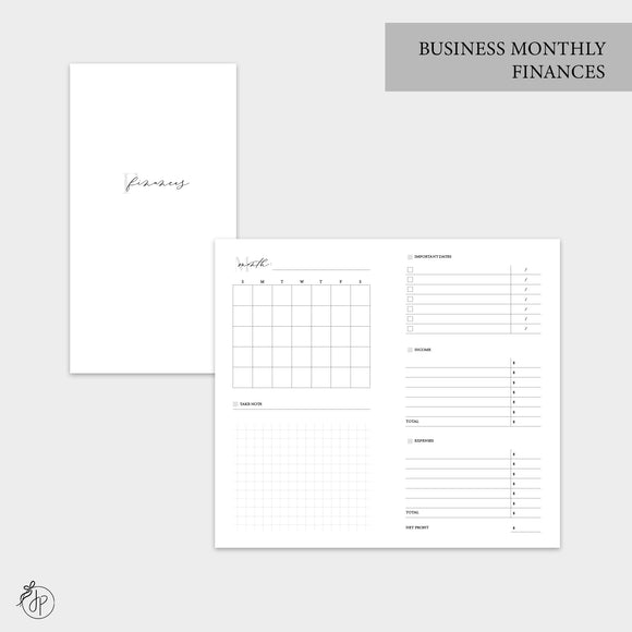 Business Monthly Finances - Personal TN
