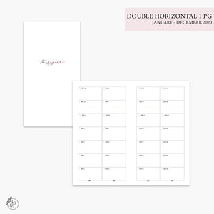 Double Horizontal on 1 Page 2020 Pink - Personal TN